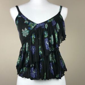 Free People Floral Ruffle Crop Blouse XS